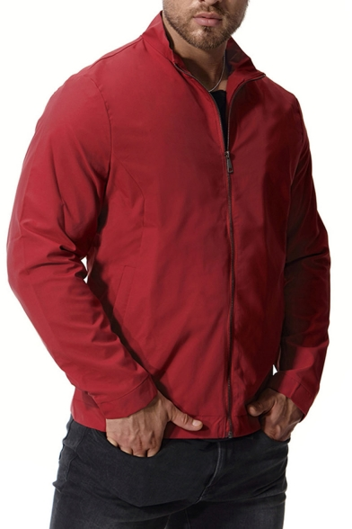 New Trendy Plain Long Sleeve Stand-Collar Zip Up Track Jacket for Men