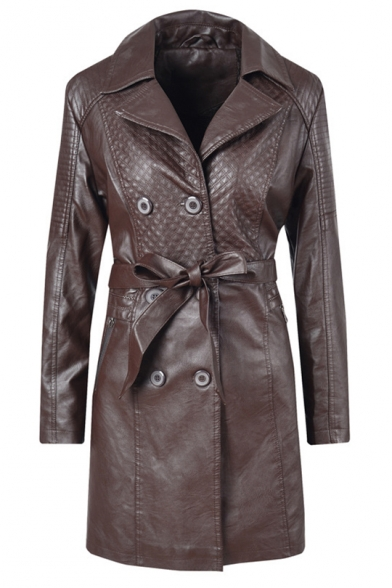 Plain Notched Lapel Collar Double-Breasted Button Tie Waist PU Long Jacket Coat