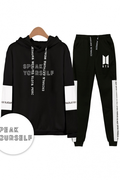 Popular Cool Letters SPEAK YOURSELF Print Patterns Long Sleeve Loose Hoodie with Sport Sweatpants Two Piece Set, Black;white;gray;navy, LM556343