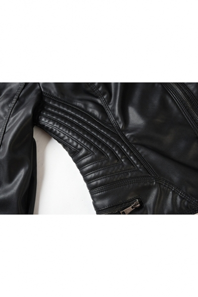 Punk Style Plain Lapel Collar Long Sleeve Zip Front PU Cropped Motorcycle Jacket