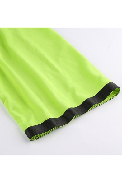 Short Sleeve Lapel Collar Chain Embellished Push Buckle Neon Green Cropped Coat Jacket