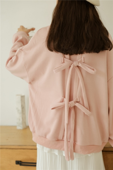 Simple Plain Knotted Bow-Tie Back Round Neck Pullover Sweatshirt