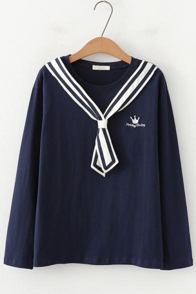 Sweet Girls Stripe Tied Collar Crown Letter Embroidery Loose Leisure Sweatshirt
