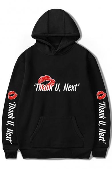 Thank U Next Letter Red Lip Printed Womens Hot Popular Long Sleeve Hoodie With Pocket