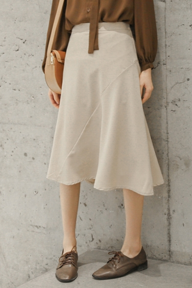Vintage Solid Color Elastic Waist Chic Midi Flared A-Line Skirt