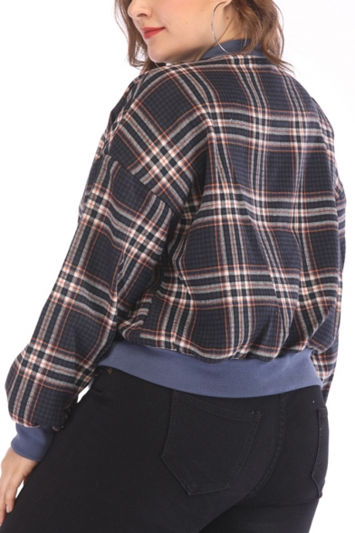 Women Boxy Color-Block Plaid Pattern Stand Collar Long Sleeve Casual Cropped Jacket
