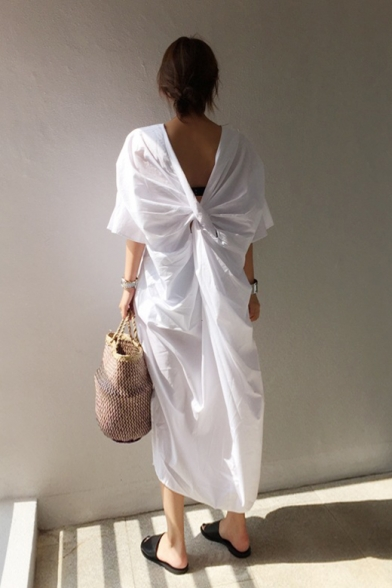 Women's Fashion V-Neck Bell-Cuff Back Pleat Open Back Slit Pockets Plain Shift Dress