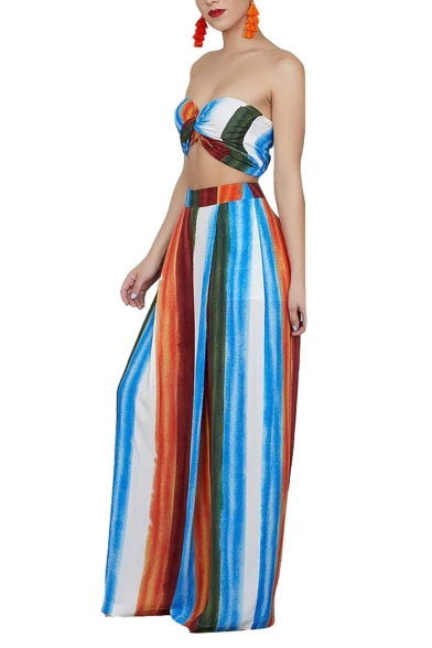 Women's New Trendy Colorful Stripe Printed Bandeau Top with Wide-Leg Loose Pants Two-Piece Set