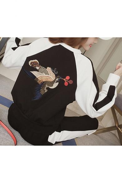 Womens Chic Fancy Bird Embroidery Long Sleeve Sweatshirt with Sweatpants Sport Running Two-Piece Set
