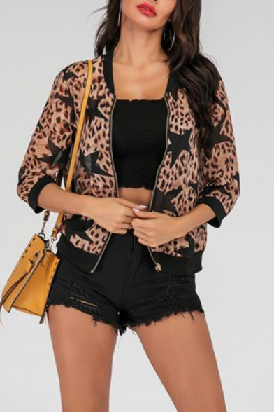 Womens Cool Leopard Chain Printed Long Sleeve Zip Up Short Jacket