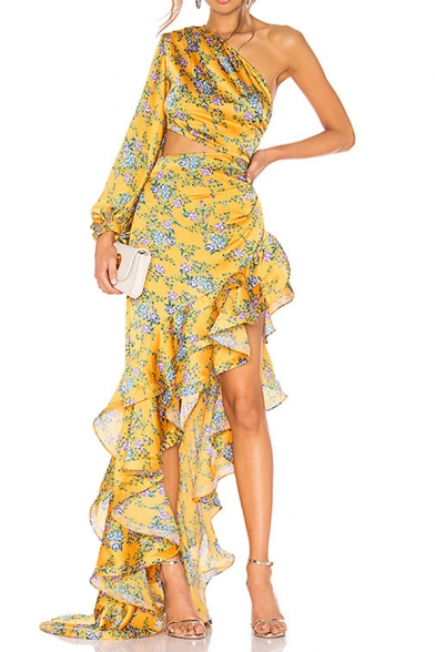 Womens Fashion One Shoulder Long Sleeve Floral Print Hollow Ruffles Asymmetrical Bodycon Maxi Eneving Dress LM558823 фото