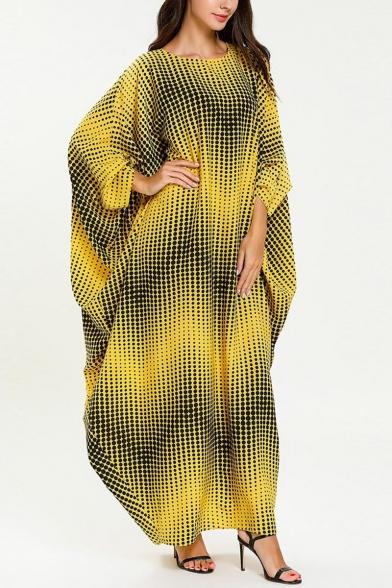 Womens Fashion Round Neck Batwing Sleeve Wavy Print Yellow Shift Asymmetrical Maxi Dress