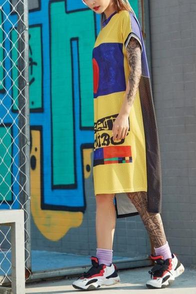Womens Fashion Round Neck Short Sleeve Color Block Letter Loose Shift T-Shirt Midi Dress