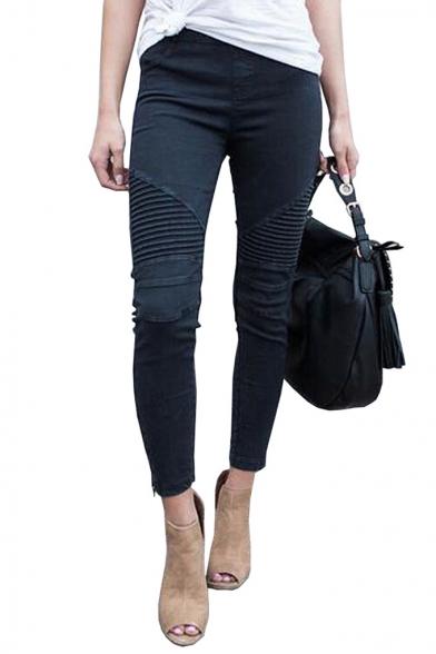 Baycheer / Womens Hot Popular Plain Zip Cuff Pleated Skinny Fit Denim Motor Jeans