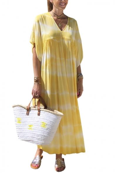 Womens New Fashion V-Neck Batwing Sleeve Dyed Sashes Loose Swing Maxi Dress