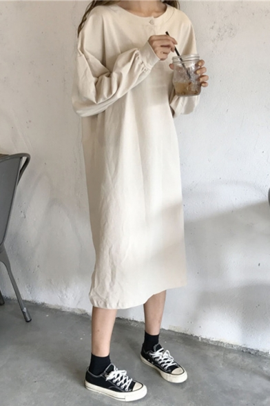 Womens New Trend Round Neck Long Sleeve Letter Print Slit Loose T-Shirt Shift Sweatshirt Maxi Dress