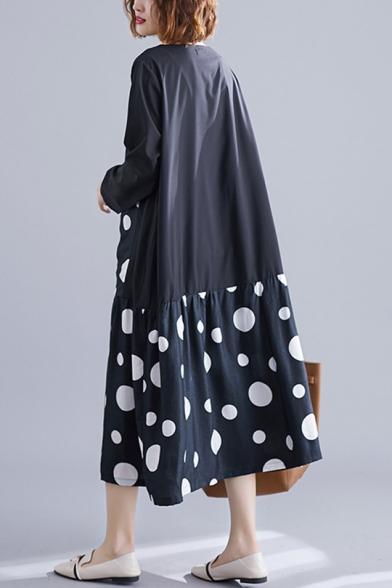 Womens Round Neck Long Sleeve Polka Dot Print Pockets Black Loose Swing Shift Maxi Dress
