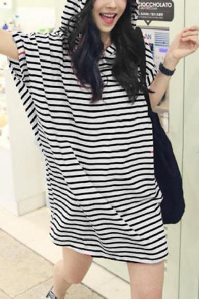 Womens Summer Hoodie Batwing Sleeve Striped Loose Sweatshirt Mini Dress