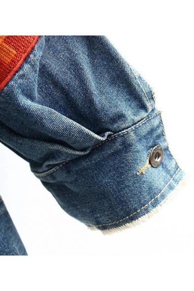 YOURSELF Arrow Pattern Print Flip Pockets with Press Buckle Denim Raw Edges Jacket Coat