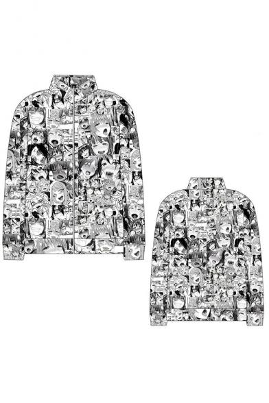 Ahegao Anime Comic Girl 3D Figure Printed Stand Collar Long Sleeve Zip Placket Baseball Jacket
