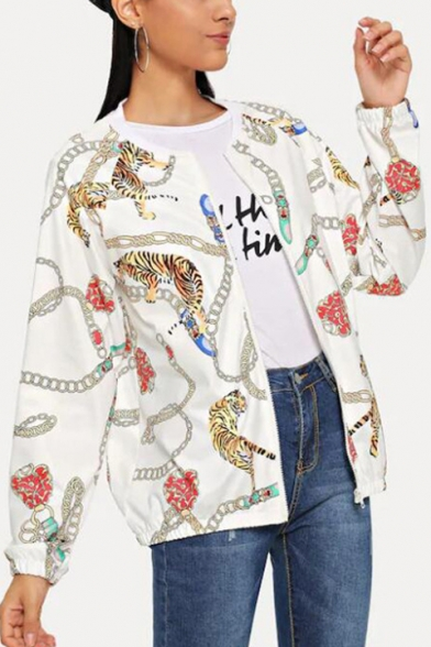 Allover Tiger Chain Pattern Stand Collar Long Sleeve White Zip Up Jacket
