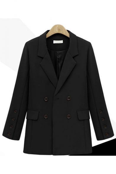 Chic Notched Lapel Collar Double Breasted Flap Pockets Long Blazer Outerwear