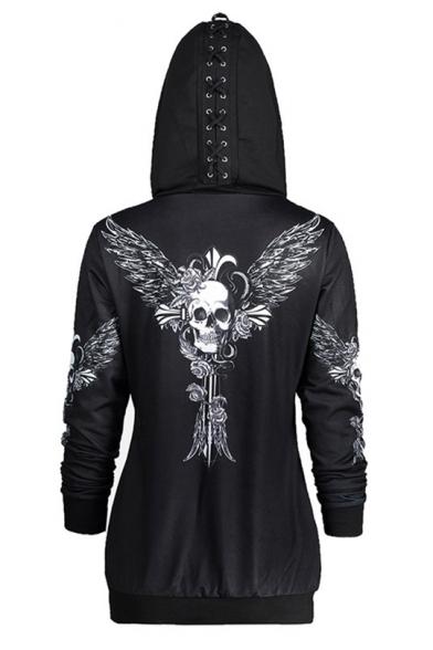 Cool Black Skull Printed Long Sleeve Zip Up Hoodie With Pocket