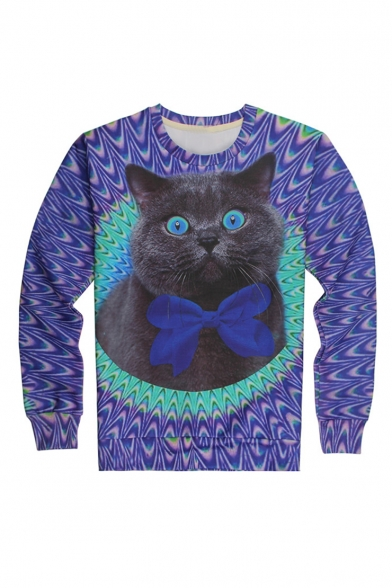 Creative Fashion Cartoon Cat 3D Printed Round Neck Long Sleeve Purple Pullover Sweatshirt