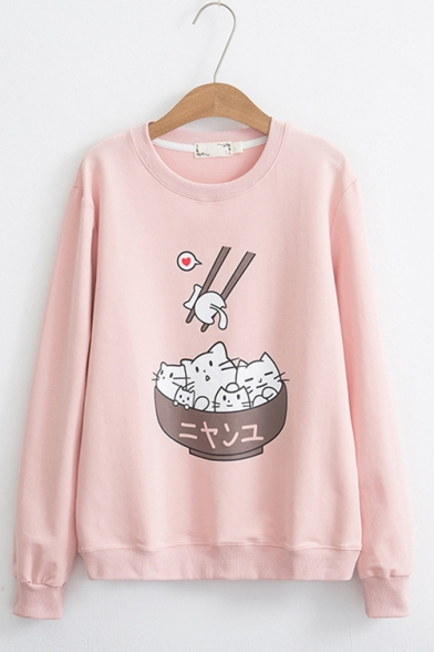 Cute Cartoon Chopstick Cat Print Round Neck Long Sleeves Leisure Pullover Sweatshirt
