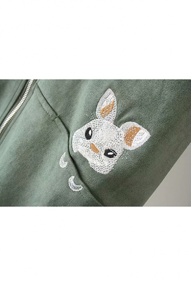 Cute Embroidery Rabbit Printed Stand Collar Zip Up Mid-Length Suede Coat Jacket