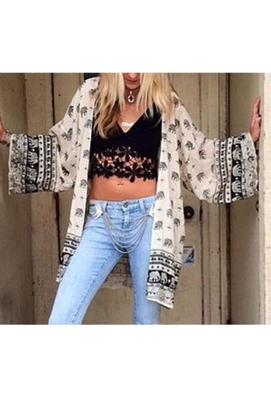 Baycheer / Ethnic Style Allover Elephant Pattern Beach Cotton White Kimono Blouse for Women