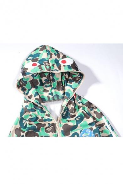 Fashion Cool Camouflage Cartoon Shark Stripe Printed Full Zip Long Sleeve Casual Hoodie