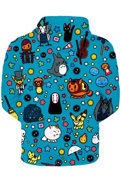 Funny Cartoon Comic Character Printed Blue Long Sleeve Unisex Drawstring Hoodie