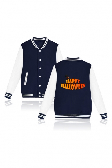 Funny Letter HAPPY HALLOWEEN Print Stand Collar Long Sleeve Single Breasted Baseball Jacket