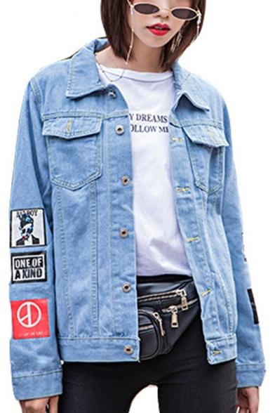 GDRAGON Letter Cartoon Pattern Printed Chest Pockets Casual Denim Jean Jacket Coat