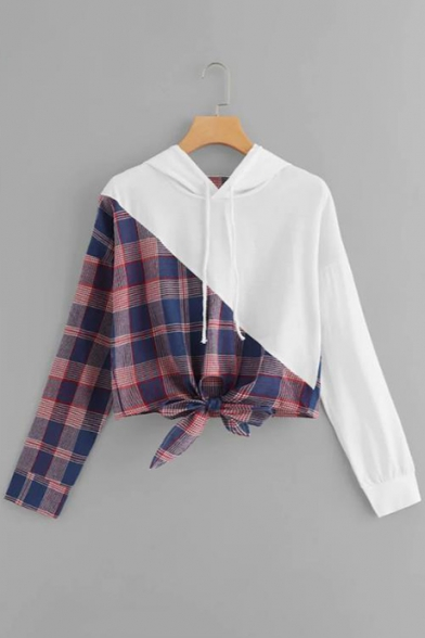Hot Fashion Plaids Pattern Long Sleeves Pullover Cropped Drawstring Hoodie