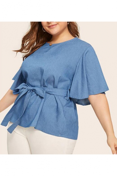 Hot Fashion Simple Plain Round Neck Half-Sleeved Bow Tied-Waist Loose Blue Shirt