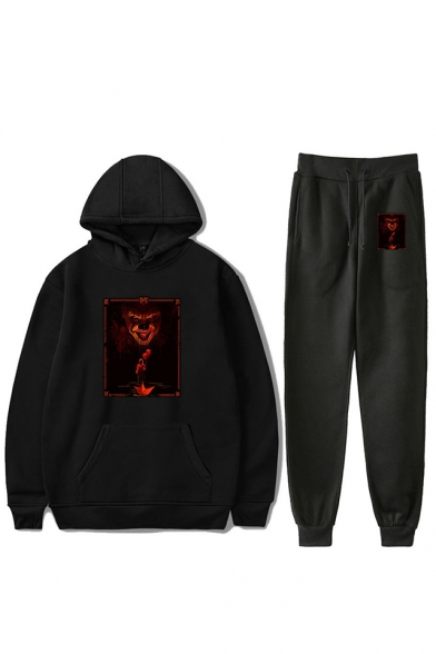 Hot Popular IT Clown Figure Pattern Long Sleeve Hoodie with Sweatpants Two-Piece Set, Black;dark navy;red;white;gray, LC555970