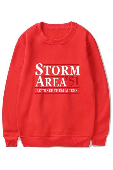 Hot Popular Storm Area Printed Basic Round Neck Long Sleeve Pullover Sweatshirt