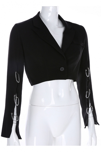 Hot Sale Notched Lapel Collar Single Button Cut-out at Armscye Black Cropped Blazer