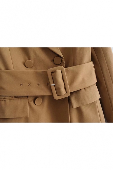 Khaki Collared Neck Gathered Waist Belted Flap Pockets Long Sleeve Blazer Longline Blazer