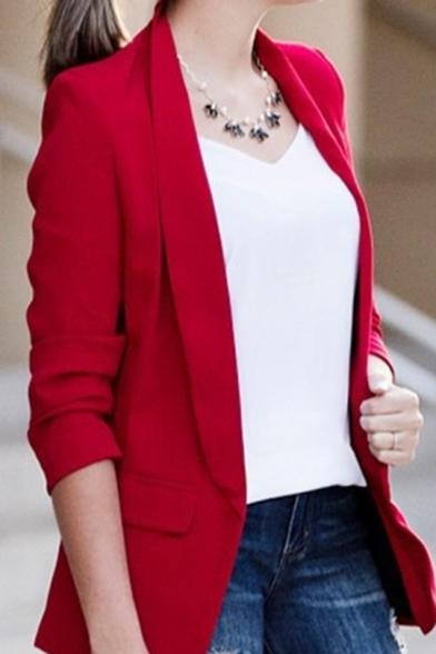 Lady's Office Work Lapel Open-Front Flap Pockets Long Sleeve Casual Blazer