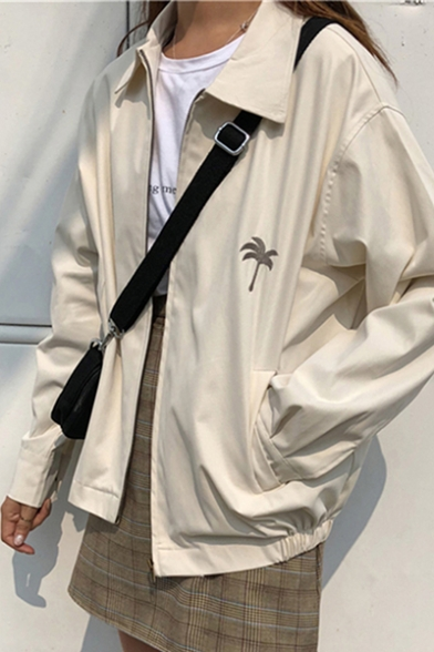 Leisure Coconut Palm Embroidered Peaked Lapel Collar Polyester Apricot Pocket Jacket Coat