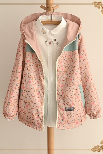 Lovely Embroidery Fawn Printed Cotton Blends Zipper Pockets Zip Up Reversible Hooded Coat