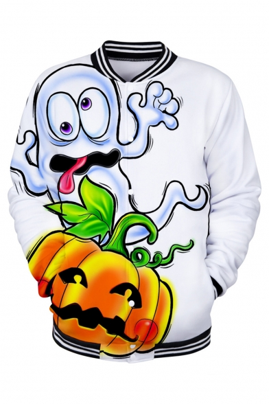 Men's Funny Halloween Pumpkin Print Rib Stand Collar Long Sleeve Button Down White Baseball Jacket