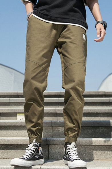Men's New Fashion Simple Plain Relaxed Fit Elastic Cuffs Casual Cargo Pants