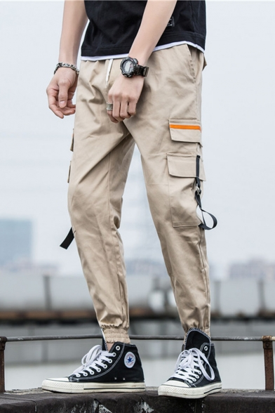 Men's New Fashion Simple Plain Ribbon Embellished Drawstring Waist Elastic Cuffs Sports Cargo Pants