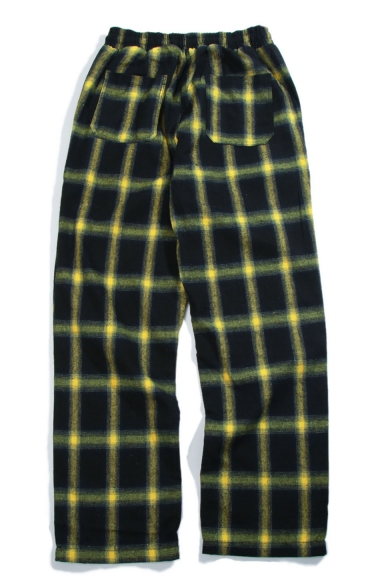 Men's Popular Fashion Plaid Letter Embroidery Pattern Loose Fit Wide Leg Track Pants