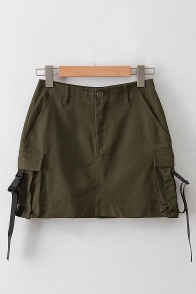 New Arrival High Waist Bucket Pocket Side Plain Cool Street Style Mini Cargo Skirt LM551806 фото
