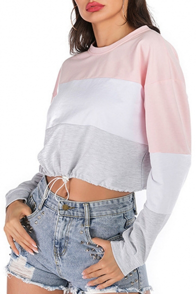 New Arrival Long Sleeve Round Neck Drawstring Waist Colorblock Patch Cropped Sweatshirts